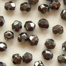 4mm Fire Polished, Heametite - 50